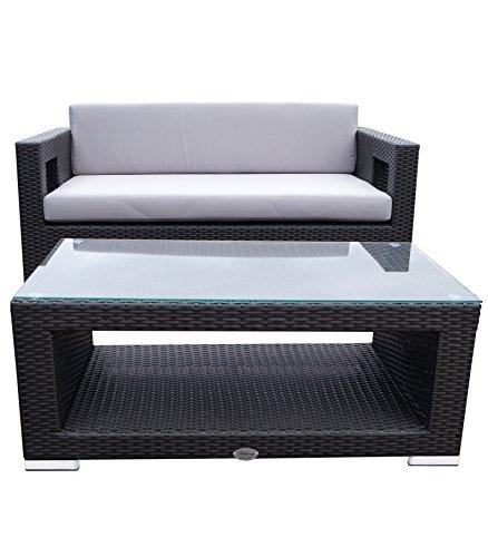 Rattan Lounge Set - Polyrattan Gartenmöbel Garnitur Sofa – kantiges Design – breite Armlehne - schwarz - 10 cm Kissenauflage - rostfreies Aluminiumgestell - Sitzgruppe - hervorragende Verarbeitung – top Qualität - preisgünstig (Sofa mit Tisch, schwarz)