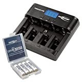 ANSMANN Powerline 5 Pro Akkuladegerät / 5-fach Ladegerät zum Laden  Entladen & Refreshen / Ideal für Akkus in den Größen AA  AAA  C  D & 9V / USB-Port für Smartphone & co. / inkl 4 maxE Pro AAA Akkus