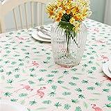 GWELL Baumwolle Flamingo Tischdecke Eckig Tischtuch Schmutzabweisend Garten Zimmer Dekorationen grün 140*180cm