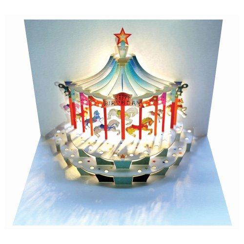 Forever Handmade Pop Up Karte zum Geburtstag - edel und elegant mit verblüffender Wirkung beim Öffnen, da im Lasercut-Verfahren aus einem Blatt hochwertigen Kartons hergestellt. Designed und produziert von Ge Feng im walisischen Ross-on-Wye. GP096 (Geburtstag Karten)