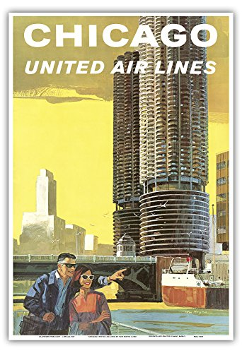 chicago-etats-unis-marina-city-la-riviere-chicago-united-air-lines-vintage-airline-travel-poster-by-