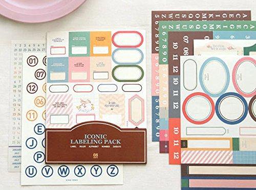 YPSelected Set von 11 Sheets Labeling Pack Deco Aufkleber Papier Aufkleber Scrapbooking