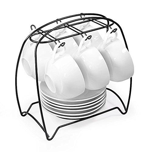 TEE SERVICE SET, [3,4oz kleinen Tasse], 77L Keramik Tea Pot (22Oz, 2,7Cup),, 4-tlg. Tee Tassen mit Untertassen (3,4oz) und Bambus Display stehen–Moderne Teekanne, Tee-Tassen und Untertassen Set für Zuhause und Büro Tea Cup and Saucer Set, Set of 6 (Tasse Und Untertasse-display-rack)