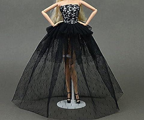 Stillshine Beautiful Fashion Handmade Clothes Dress for Barbie . Princess Doll Wedding Gown Lace Floral Dress, Dresses for Barbie/doll long dress A01758 (Black and purple)