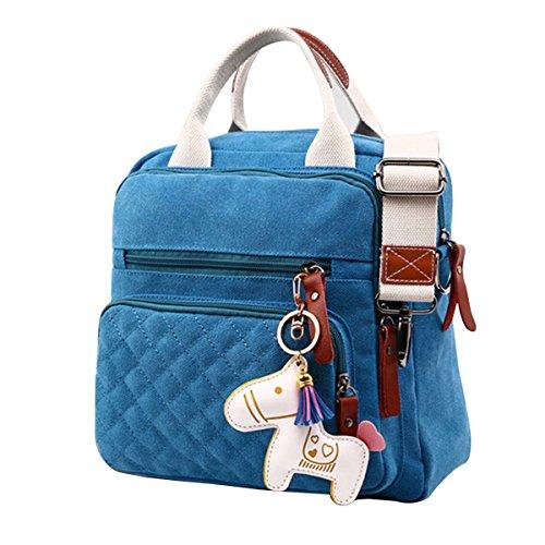 Preisvergleich Produktbild Nasis Fashion Design leicht Damen Canvas Mini Schultertasche Handtasche Alltagtasche AL4068 (blau)