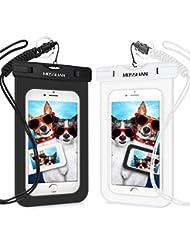 MOSSLIAN 2 Pièces Pochette Étanche Housse Étanche Universel en TPU pour iPhone 7/SE/6s/6 Plus, HUAWEI Mate 9/Mate 9 Pro/P10/P9 pour le Ski, le Surf, la Natation (Noir+Blanc, 6inch)