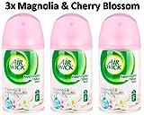 3 Repuestos Air Wick Freshmatic de 250 ml magnolia y flor de cerezo