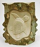 Unpolished Schildkröte auf Baum Log Hand geschnitzt aus Holz Skulptur
