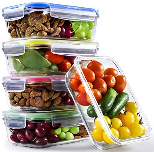 Glasschüssel mit Deckel (5er Pack, 840 ml) | Frischhaltedose Glas | Glasdose mit Deckel | Glasbox | Frischhaltedosen perfekt als Vorratsbehälter für Ofen, Mikrowelle, Gefrierschrank