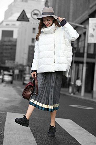 YOU.U Damen Wasser Resistent Kurze Winterjacke mit Asymmetrischem Reißverschluss Weiß