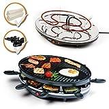 Raclette Grill, elektrisches Raclette-Set mit Pfannen, starke 1200Watt, Raclette-Partygrill