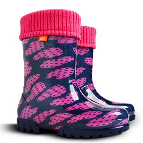Demar Girls Kids Fleece-Lined Wellington Boots Rainy Snow Wellies Pink Purple Hearts