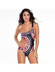Europe et explosions maillots de bain fashion une épaule diagonal led impression sensuelle serrés une pièce maillot de bain