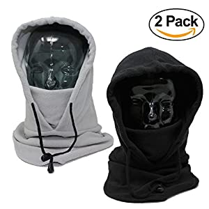 2 Pack - Full Tactical Balaclava Wind Resistant Fleece Face Mask and Hood – Perfect to Keep Face and Neck Warm During Outdoor Pursuits Including Skiing Snowboarding and Fishing from Bramble