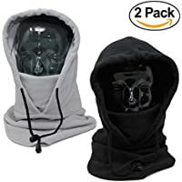 2 Pack - Full Tactical Balaclava Wind Resistant Fleece Face Mask and Hood – Perfect to Keep Face and Neck Warm During Outdoor Pursuits Including Skiing Snowboarding and Fishing