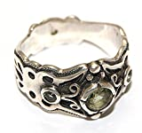 Moldavit Ring Schmuck - Sterlingsilber - Schmetterling Design moldr16a01