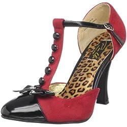 Pinup Couture SMITTEN-10, zapatos de tacón con punta errada para mujer, Rot (Red M. Suede-blk Pat)