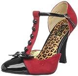 Pinup Couture Smitten-10, Zapatos de Tacón con Punta Cerrada para Mujer, Rot (Red M. Suede-Blk...