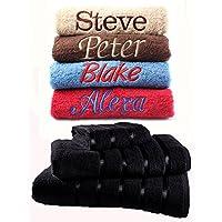 Juego de toallas bordadas personalizadas, ideal para regalo. Ponga cualquier nombre | Toalla de cara | Toalla de manos | Toalla de ducha | Toalla de baño |100% algodón egipcio 550 g/m², Black., Toalla de baño