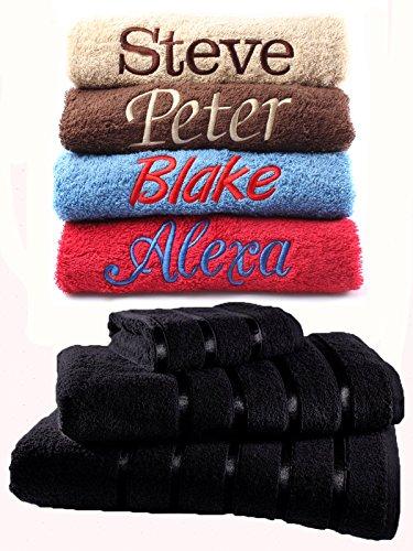 serviettes brodées personnalisables en 100 % coton égyptien de qualité de 500 g/m² - Serviette pour les mains, le visage, le bain,, la plage et drap de bain,