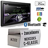 Mercedes C-Klasse W203 - Radio Pioneer FH-X720BT USB Bluetooth CD Autoradio Android iPod/iPhone-Direktsteuerung - Einbauset