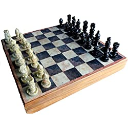 """StonKraft 12 """"x12 Conjunto de Tablero de Juego de ajedrez de Piedra de Madera + peones Hechos a Mano"""