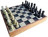 StonKraft 12 'x12 Jeu de Plateau de Jeu d'échecs en Bois de Pierre + pions fabriqués à la Main