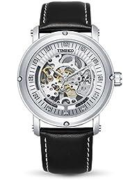 Time100 W60040G.01A Fashion Reloj de mecánico para hombre, correa de ante color negro