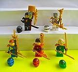 5 Lego Ninjago Ninja Lloyd Jay Kai Cole Zane Samurai Figuren Minifiguren mit Waffen incl. WIZUALS STICKER