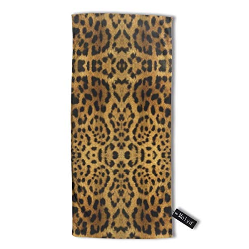 cleaer Furry Leopard Print Premium Microfiber Hair Towel Super Absorbent Anti-Frizz Hair Towel for Drying Curly Long & Thick Hair 12 X 27.5 inch (30 X 70 cm) Furry Leopard