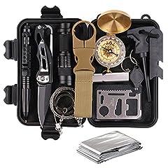 Idea Regalo - TRSCIND Kit di Sopravvivenza Multiuso,13 in 1 Survival Kit,Usato per Esterna First Aid Kit per Gli Sport all'Aria Aperta, Campeggio, Alpinismo, ECC
