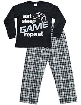 Niños comer dormir juego repetición pijama 9A 13años Gamer Pjs negro
