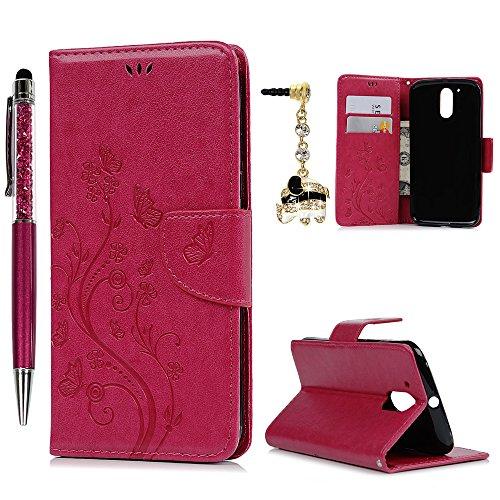 MOTO G4 plus (5.5 Zoll) Hülle, Leder Flip Wallet Cover in Book Style Stand Case Card Slot Leder Tasche Case Karteneinschub und Magnetverschluß Kratzfestes und Schmutzunempfindliches in Rose Red für MOTO G4 plus (5.5 Zoll) + Stylus Stift +Staubstecker(Nicht für MOTO G4) (Elektronik Wallet)