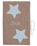 Praktisch für unterwegs Windeltasche aus Baumwolle mit blauen Sternen ★ 16 x 26 cm für Säuglinge, Babys und Kleinkinder, personalisierbar mit Namen als Geschenk zur Geburt oder Taufe
