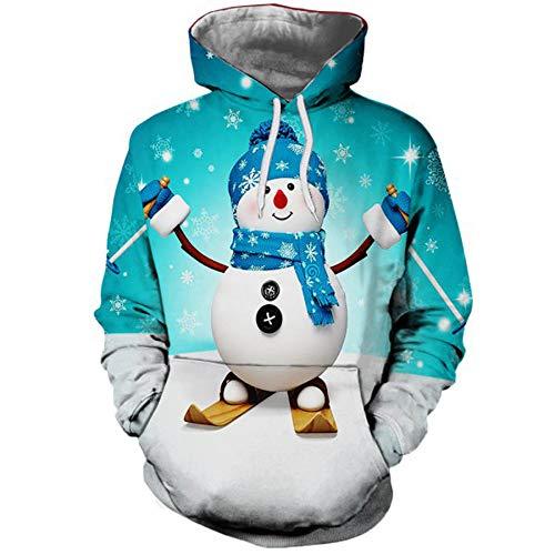 MIRRAY Damen Pullover Weihnachten Hoodie Weihnachten Känguru Pocket Cartoon Schneemann Gedruckt Sweatshirt Pullover Top