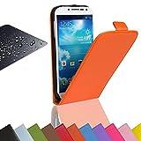 EximMobile - Flip Case Handytasche + Panzerglasfolie für Microsoft Lumia 550 | Schutzhülle in Orange | Handyhülle aus Kunstleder Tasche | Cover Etui Hülle mit Panzerglas Schutzfolie Panzerfolie