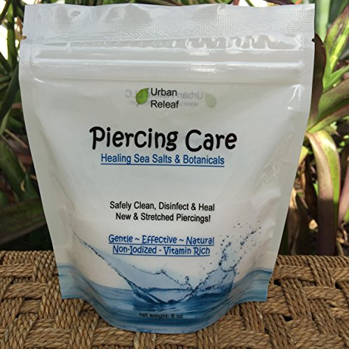 PIERCING CARE 6 oz BAG ! Healing Sea Salts & Botanical AFTERCARE ! Safely Clean, Disinfect & Heal New & Stretched Piercings. Gentle ~ Effective ~ Natural by Urban ReLeaf