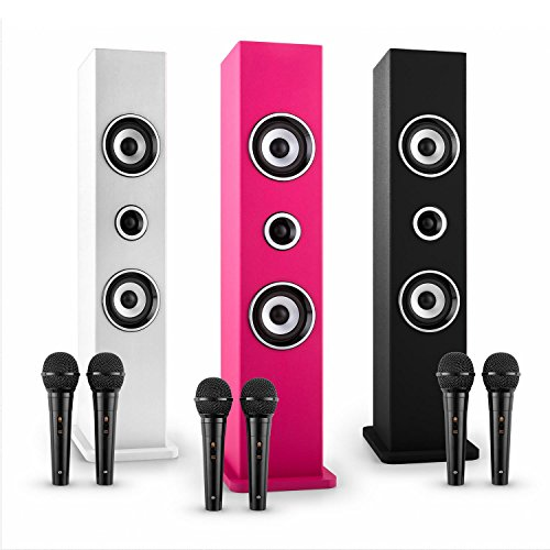 auna Karaboom • Kinder Karaoke Anlage • Karaoke Player • Karaoke Set • Turmlautsprecher • zwei Breitbandlautsprecher • Bassreflex • Bluetooth • 2 x dynamisches Mikrofon • separat regelbar • USB-Port • MP3-fähig • AUX-IN • Mikrofonhalterung • pink - 5