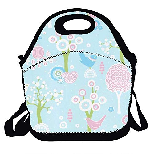Lunchbox Tote Romantic Floral Handbag with Shoulder Strap for Women Teens Girls Kids Adults