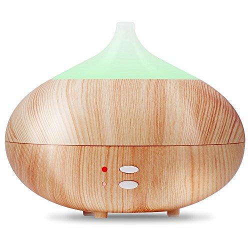 Aroma Diffuser Holz 300ml Elektrische Duftlampe elektrisch Duftvernebler Ultraschall Leise Aromatherapie Ätherische Öl Diffusor, 7 Einstellbar LED Farbe, Holzoptik