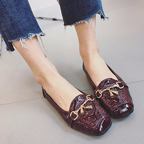 WYMBS femmes chaussures plates occasionnels chaussures de travail confortables talons plats wine red