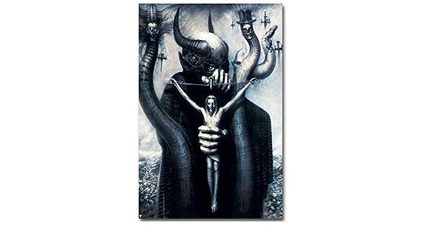 aoeiu Hail Satan Poster in Metallo Decorazione murale Pittura nostalgica del Ferro Targa retr/ò Segno di Latta per Sala Bar