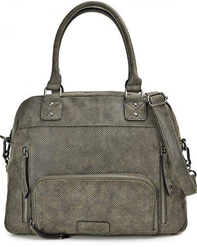 MIYA BLOOM, Damen Handtaschen, Schultertaschen, Umhängetaschen, Shopper, Henkeltaschen, 38 x 25 x 12 cm (B x H x T), Farbe:Sand Anthrazit