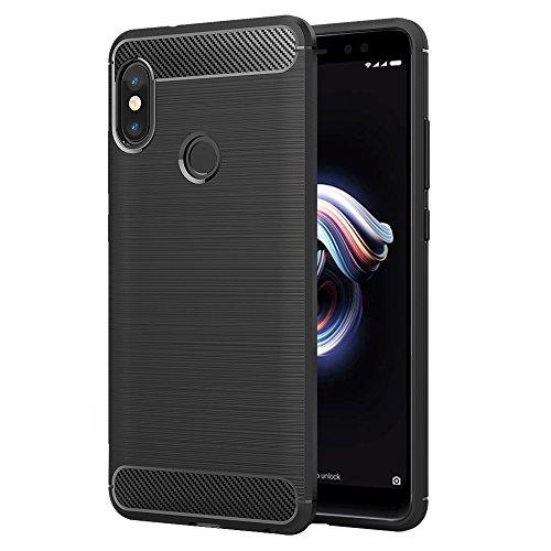 Simpeak Ersatz Xiaomi Redmi Note 5 Hülle Schwarz, Premium Weiche Karbonfaser Elastisch Schützendes Rückseiten-Case Simpeak Ersatz Xiaomi Redmi Note 5 Pro [Fallschutz] [Rutschfest] [Kratzfest]