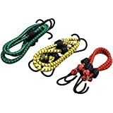 Hanumex® High Strength Elastic Bungee/Shock Cord Cables, Luggage Tying Rope with Hooks, Set of 2