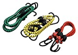 #5: Zacharias High Strength Elastic Bungee / Shock Cord Cables, Luggage Tying Rope With Hooks, Set Of 3