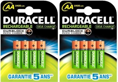 2 x 4 GB = 8 AA 2400 mAh Duracell STAY CHARGED PRE, Duralock Batterien (Pre-charged Duracell)