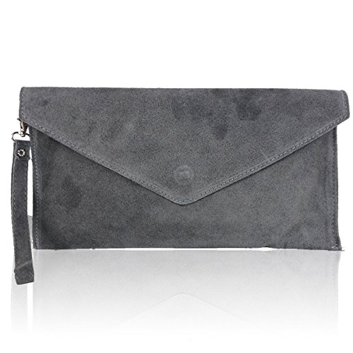 new-womens-genuine-italian-suede-leather-clutch-party-wedding-envelope-bag-grey