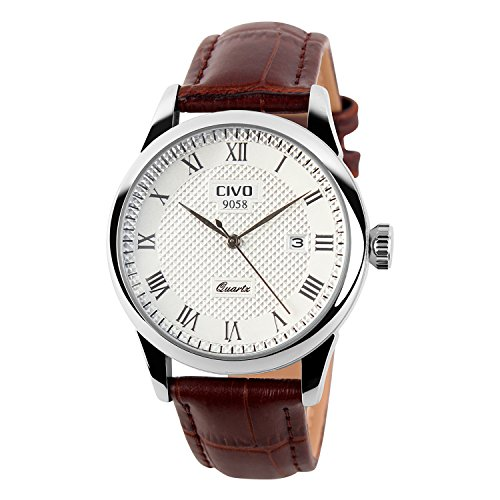 CIVO-Mens-Luxury-Brown-Genuine-Leather-Band-Date-Calendar-Wrist-Watch-Mens-Casual-Business-Analogue-Quartz-Waterproof-Wrist-Watches-Classic-Roman-Numeral-Simple-Design-Fashion-Dress-Wristwatch