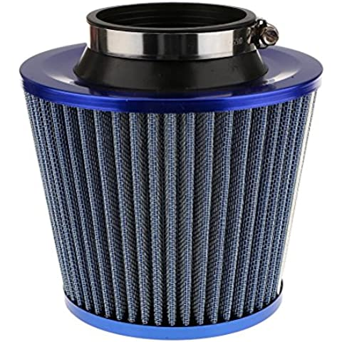 Pixnor Filtro de aire coche redondo cromo deportivo Universal aire filtro azul